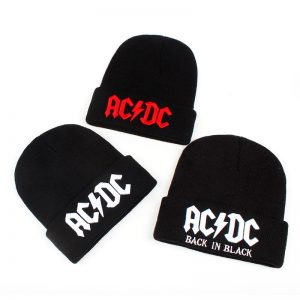 AC DC black beanie hat NEW embroidered logo